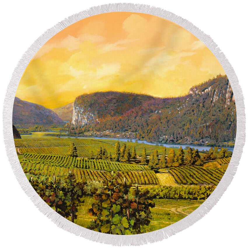 Wine Round Beach Towel featuring the painting La Vigna Sul Fiume by Guido Borelli