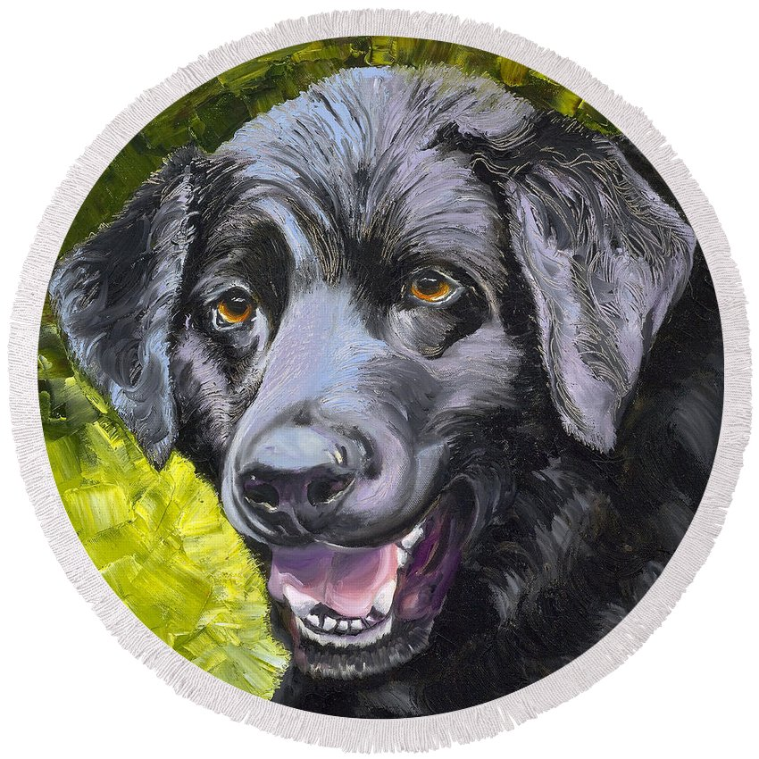 Labrador Retriever Round Beach Towel featuring the painting Lab Out Of The Pond by Susan A Becker