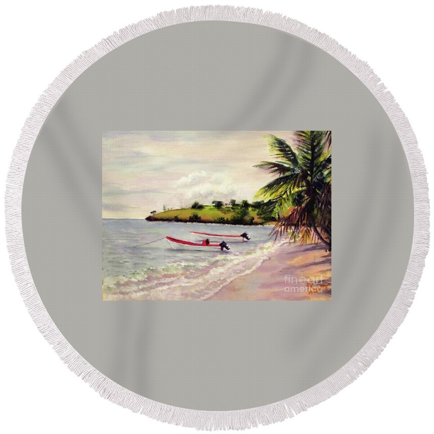 Beach Round Beach Towel featuring the painting Laborie Beach by Ron Henry