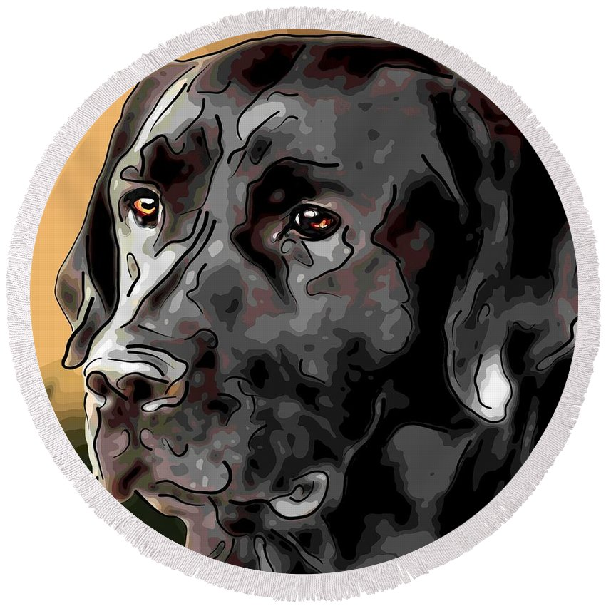Dog Round Beach Towel featuring the digital art Labrador Retriever by Alexey Bazhan