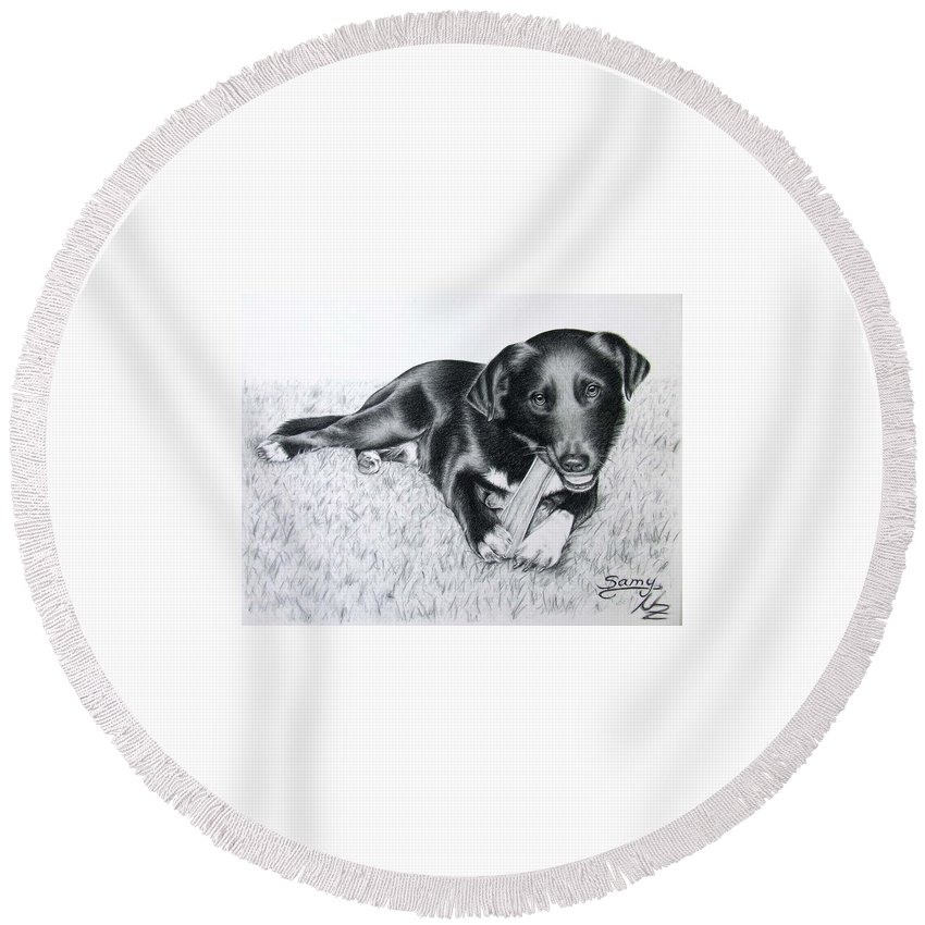 Dog Round Beach Towel featuring the drawing Labrador Samy by Nicole Zeug
