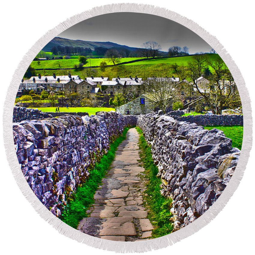 Travel Round Beach Towel featuring the photograph Labyrinth Of Grassington by Scott Perkins