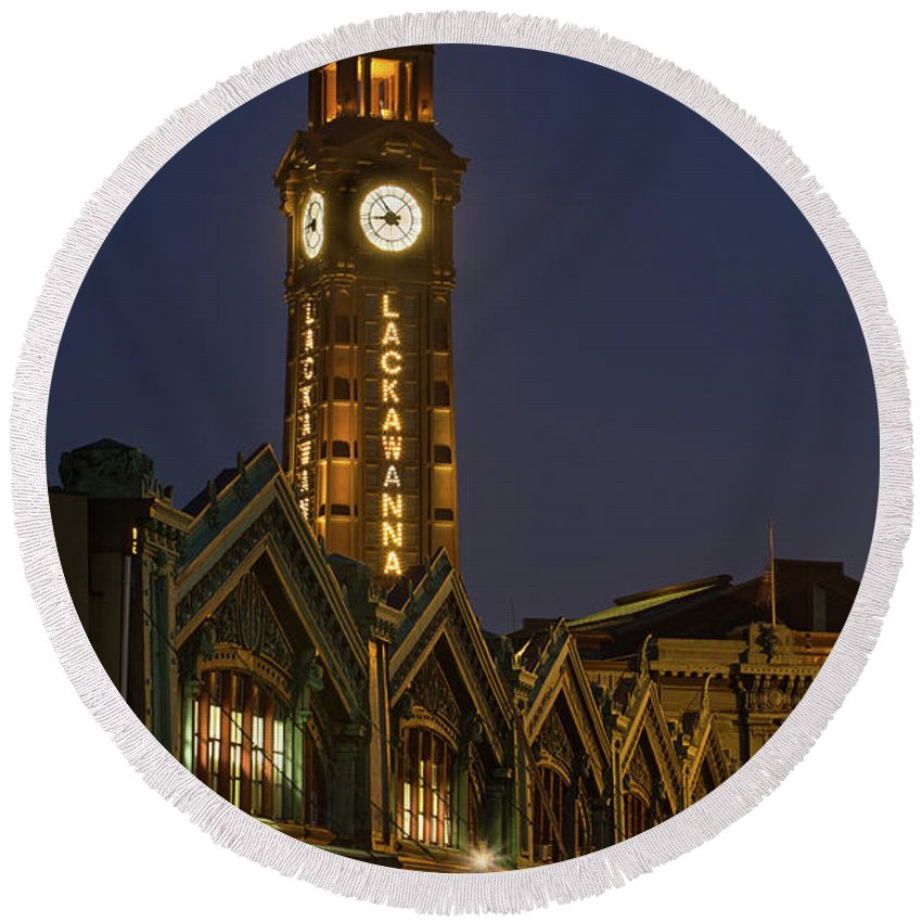 Architecture Round Beach Towel featuring the photograph Lackawanna Clock Tower by Jerry Fornarotto