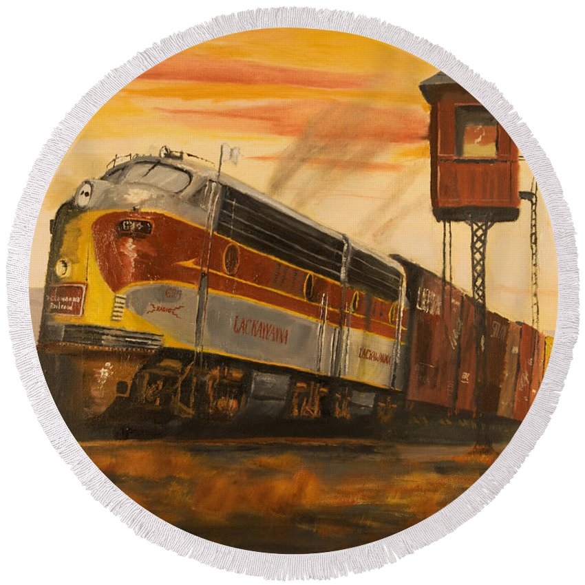 Lackawanna Round Beach Towel featuring the painting Lackawanna Fast Freight by Christopher Jenkins