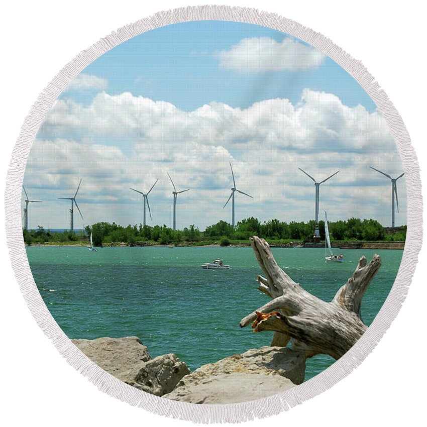 Wind Turbines Round Beach Towel featuring the photograph Lackawanna Wind Farm 5079 by Guy Whiteley