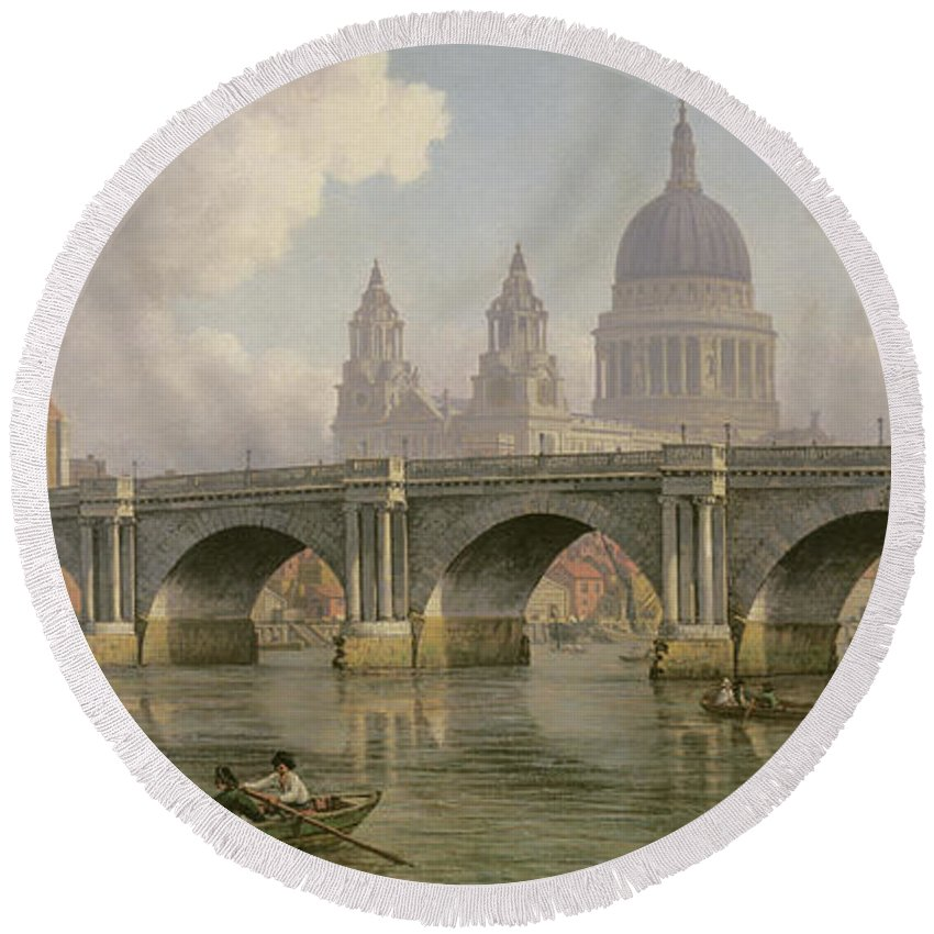Thames Round Beach Towel featuring the painting Blackfriars Bridge And St Paul's Cathedral by William Marlow
