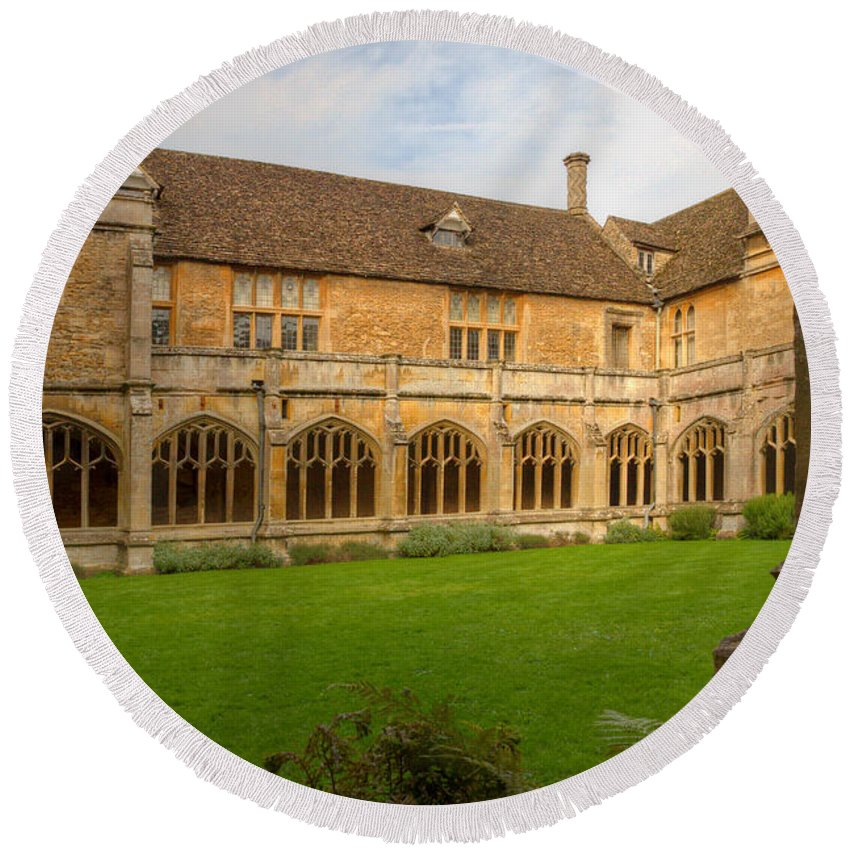 Lacock Round Beach Towel featuring the photograph Lacock Abbey Cloisters 1 by Clare Bambers