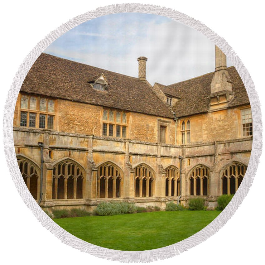 Lacock Round Beach Towel featuring the photograph Lacock Abbey Cloisters 2 by Clare Bambers