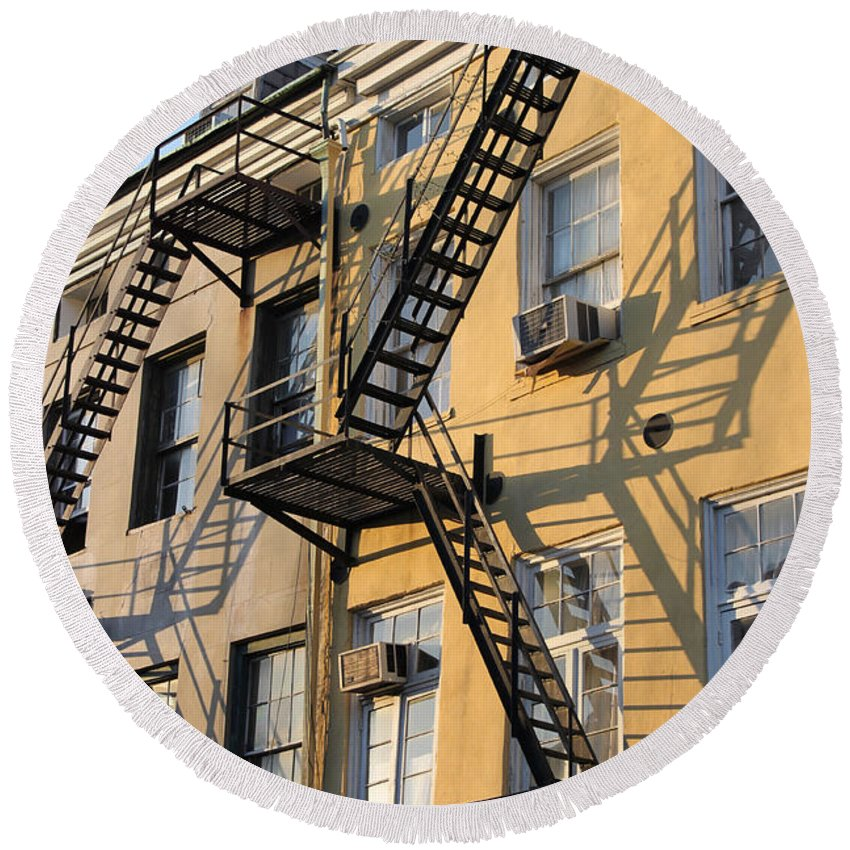 Architecture Round Beach Towel featuring the photograph Ladders by Todd Blanchard