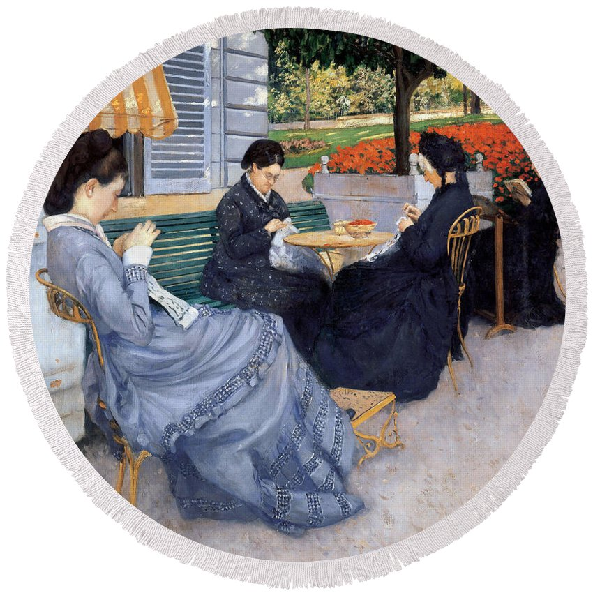 Gustave Caillebotte Round Beach Towel featuring the painting Ladies Sewing by Gustave Caillebotte