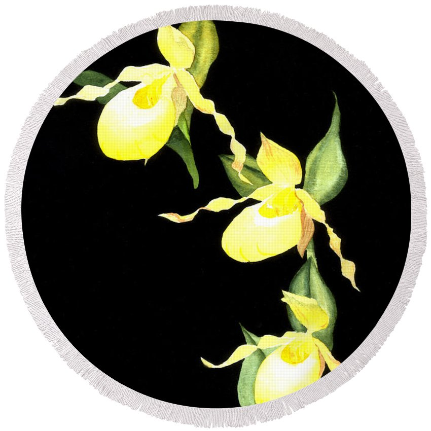 Yellow Lady S Slipper Round Beach Towel featuring the painting Ladies Trio by Lynn Quinn