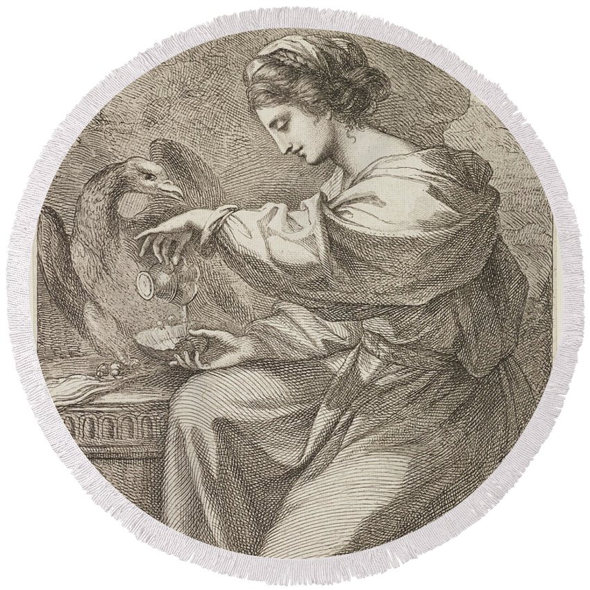 Lady And Eagle Round Beach Towel featuring the painting Lady And Eagle by Angelica Kauffmann