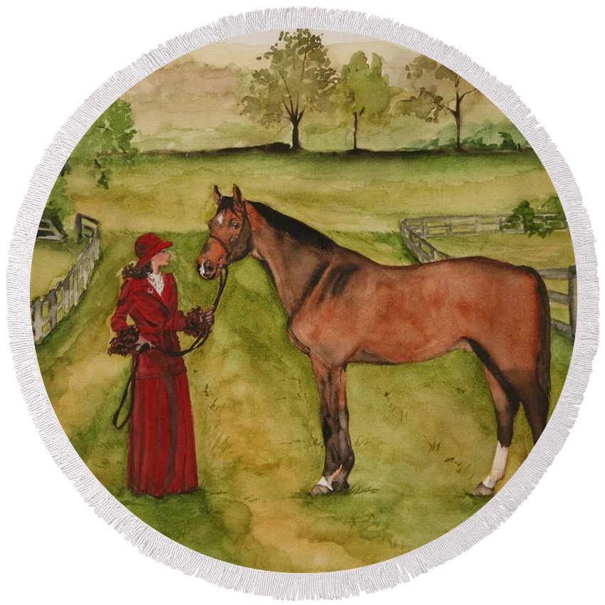 Horse Round Beach Towel featuring the painting Lady And Horse by Jean Blackmer