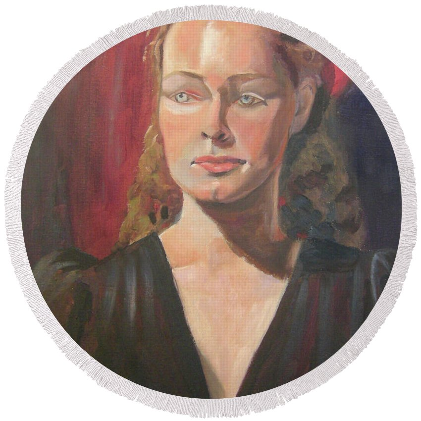 Portrait Round Beach Towel featuring the painting Lady Ann by Lilibeth Andre