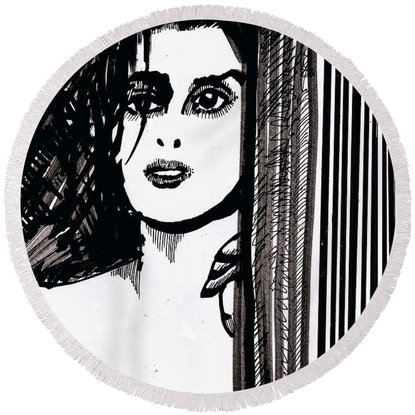 Sad Lady Round Beach Towel featuring the drawing Lady At The Door by Seth Weaver