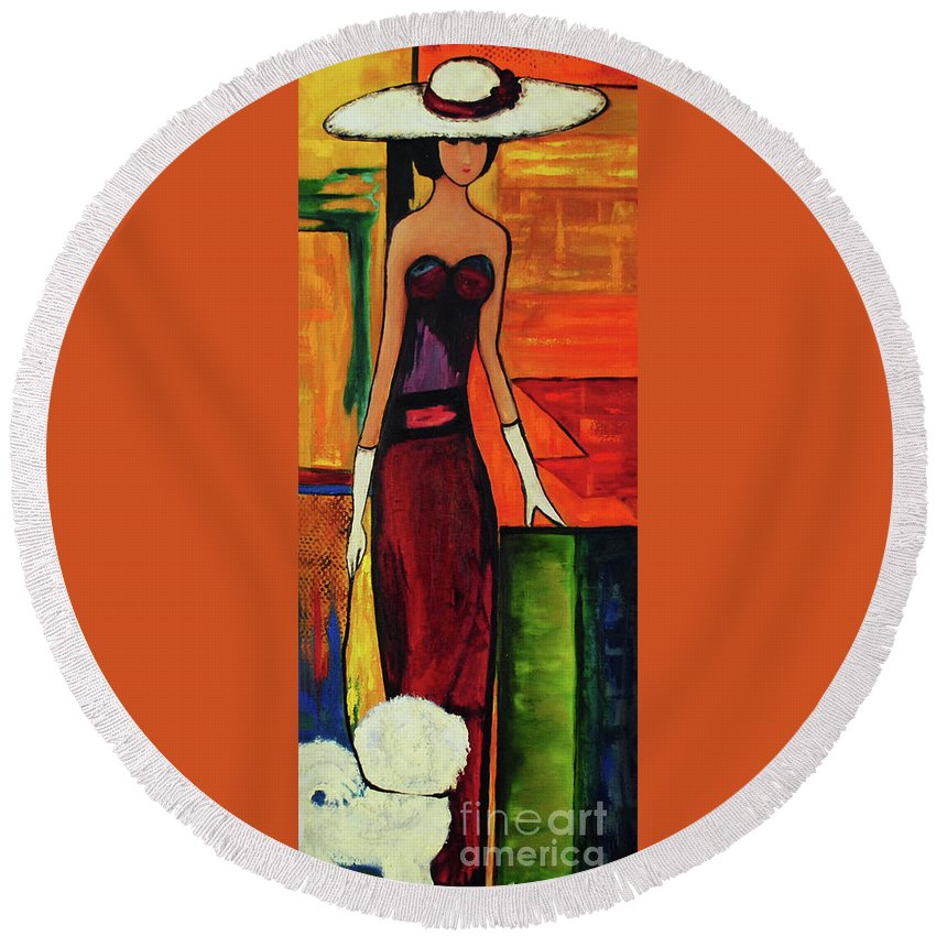 Dog Round Beach Towel featuring the painting Bichon Frise Lady by Carolyn Shireman