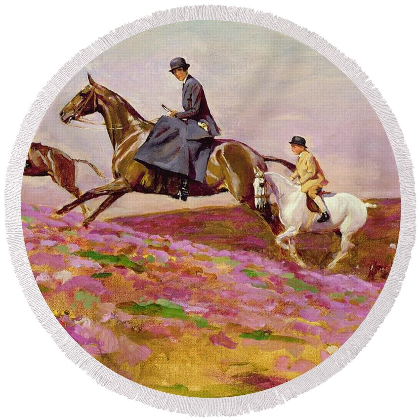 Mother; Children; Sidesaddle; Pony; Galloping; Cornwall Round Beach Towel featuring the painting Lady Currie With Her Sons Bill And Hamish Hunting On Exmoor by Cecil Charles Windsor Aldin