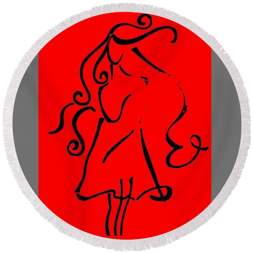 Red Round Beach Towel featuring the drawing Lady Curves by Jason Freed