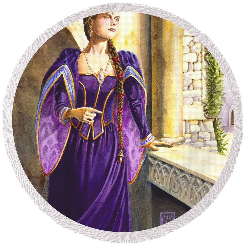 Camelot Round Beach Towel featuring the painting Lady Ettard by Melissa A Benson