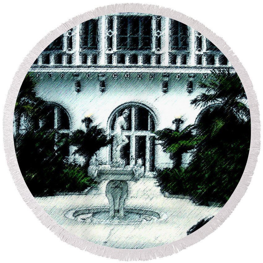 Lady Round Beach Towel featuring the mixed media Lady Fountain by Shirley Heyn