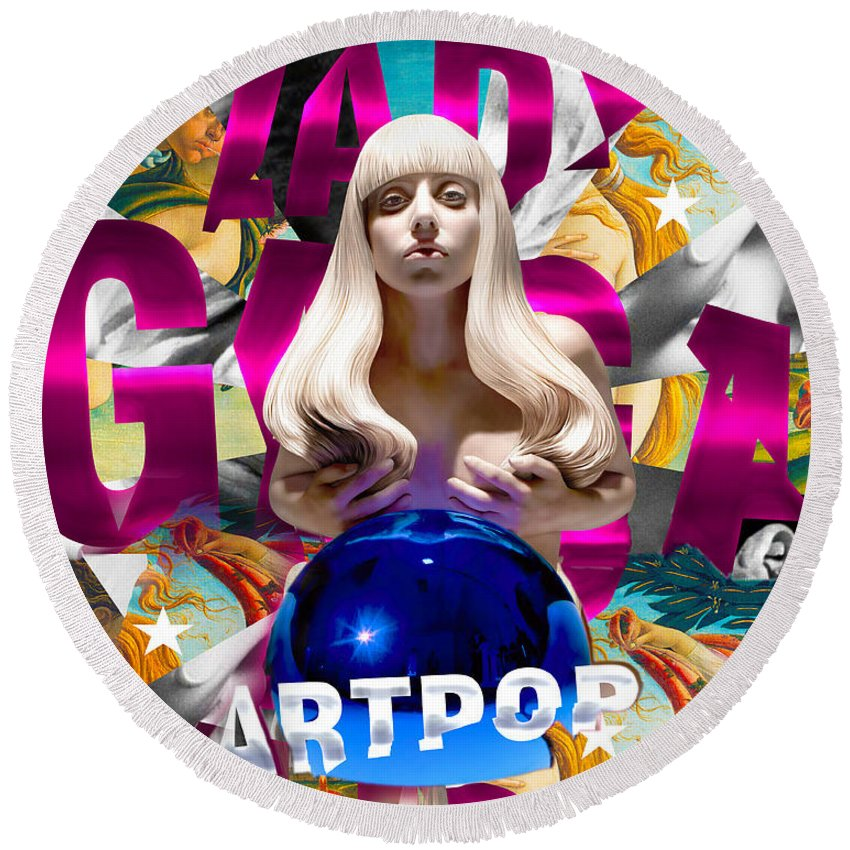 Lady Gaga Round Beach Towel featuring the painting Lady Gaga Graphic Art by Sport Fun Shop