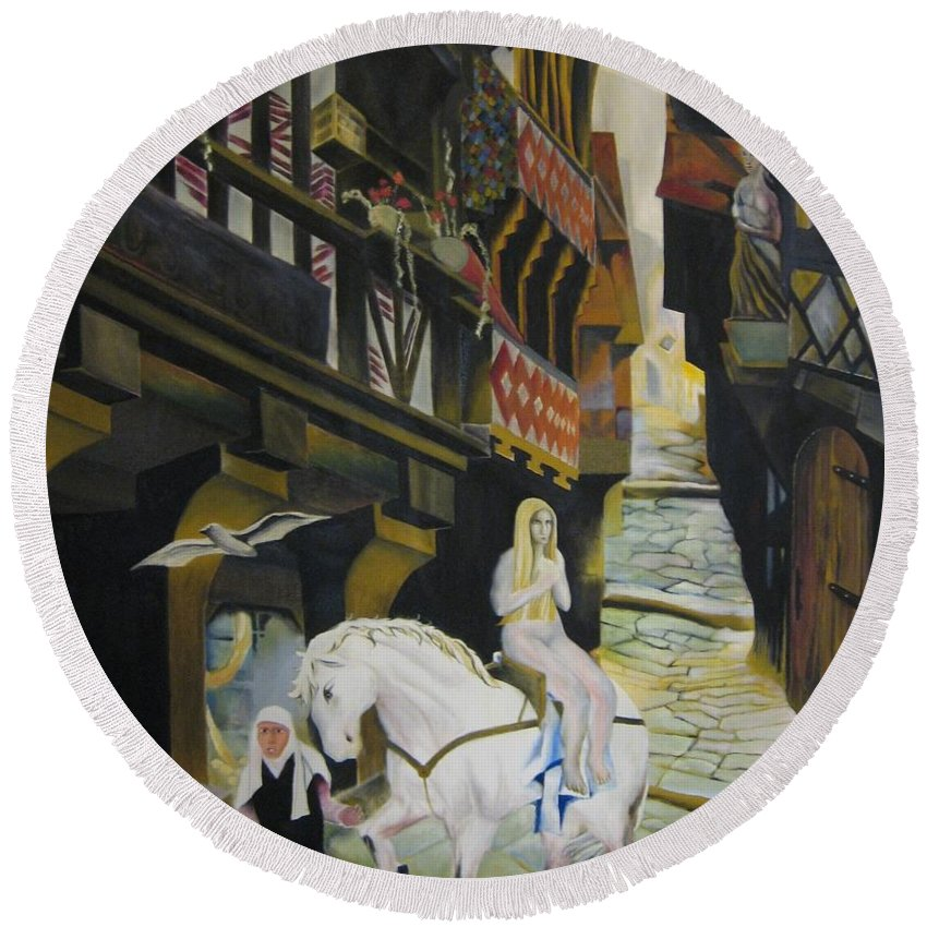Round Beach Towel featuring the painting Lady Godiva by Ronnie Lee