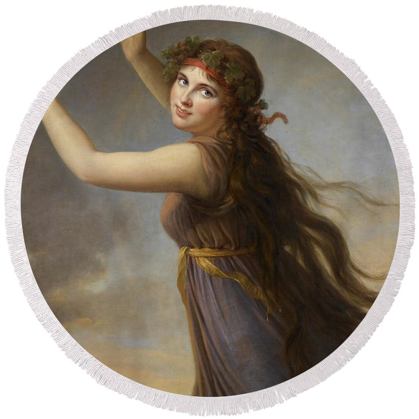 Emma Round Beach Towel featuring the painting Lady Hamilton, As A Bacchante by Elisabeth Louise Vigee-Lebrun