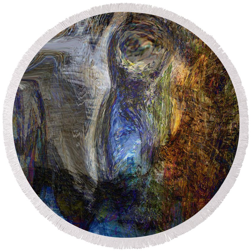 Abstract Art Round Beach Towel featuring the digital art Lady In Blue by Linda Sannuti
