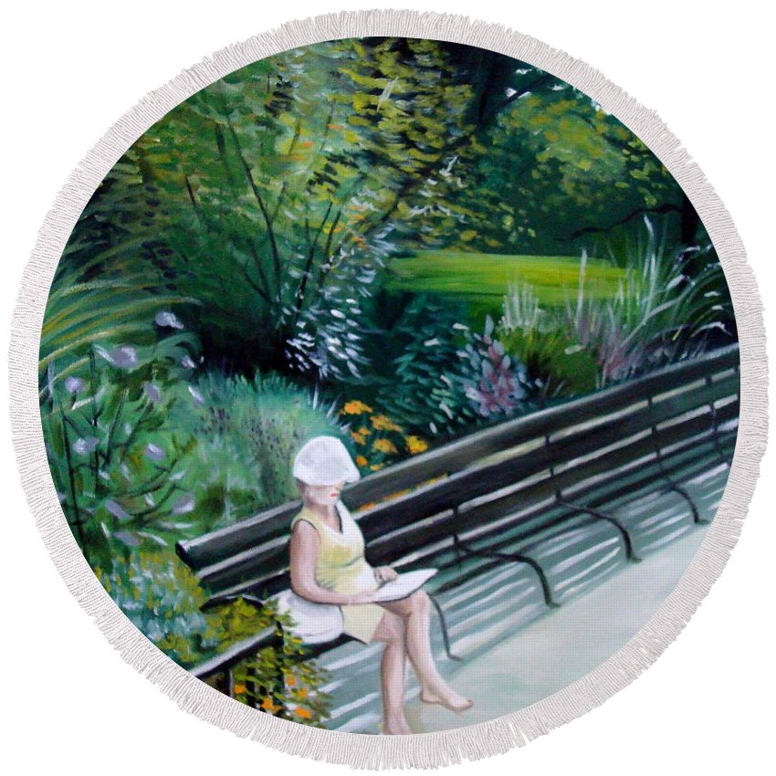 Landscape Round Beach Towel featuring the painting Lady In Central Park by Elizabeth Robinette Tyndall
