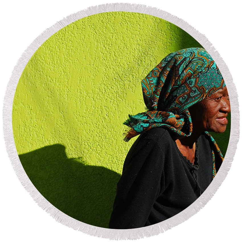 Africa Round Beach Towel featuring the photograph Lady In Green by Skip Hunt