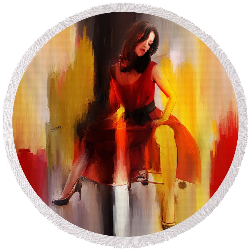 Dance Round Beach Towel featuring the painting Lady In Red by Gull G