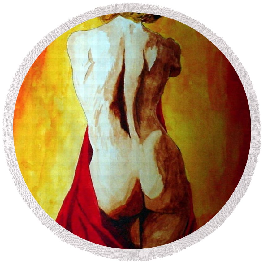 Nude Red Lady In Red Round Beach Towel featuring the painting Lady In Red by Herschel Fall