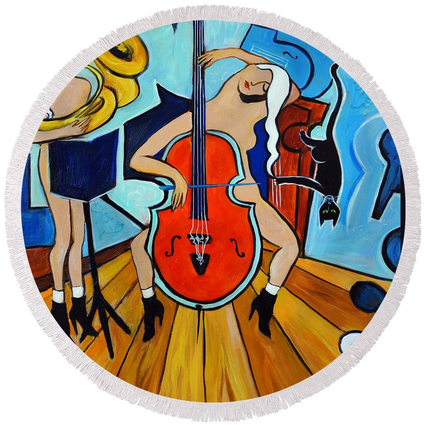 Musicians Round Beach Towel featuring the painting Lady in Red by Valerie Vescovi