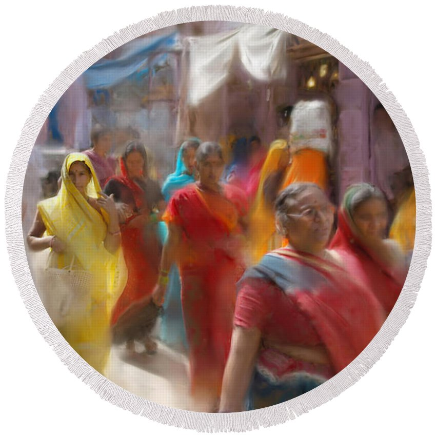 Women Round Beach Towel featuring the digital art Lady In Summer Yellow by Stephen Lucas