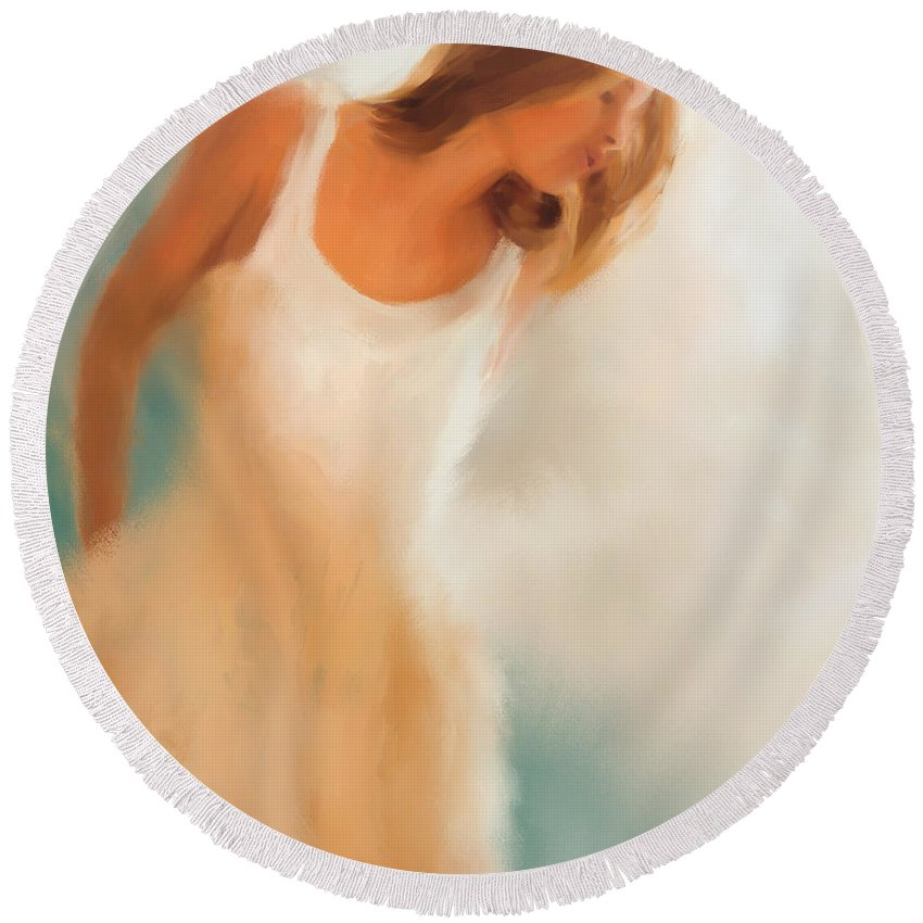 Woman Round Beach Towel featuring the painting Lady In White by Colleen Taylor