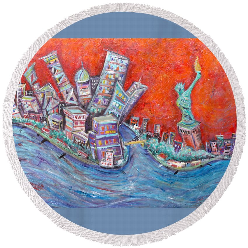Statue Of Liberty New York City Wall Steet Manhattan Hudson River New Jersey State Park Ellis Island Round Beach Towel featuring the painting Lady Liberty by Jason Gluskin