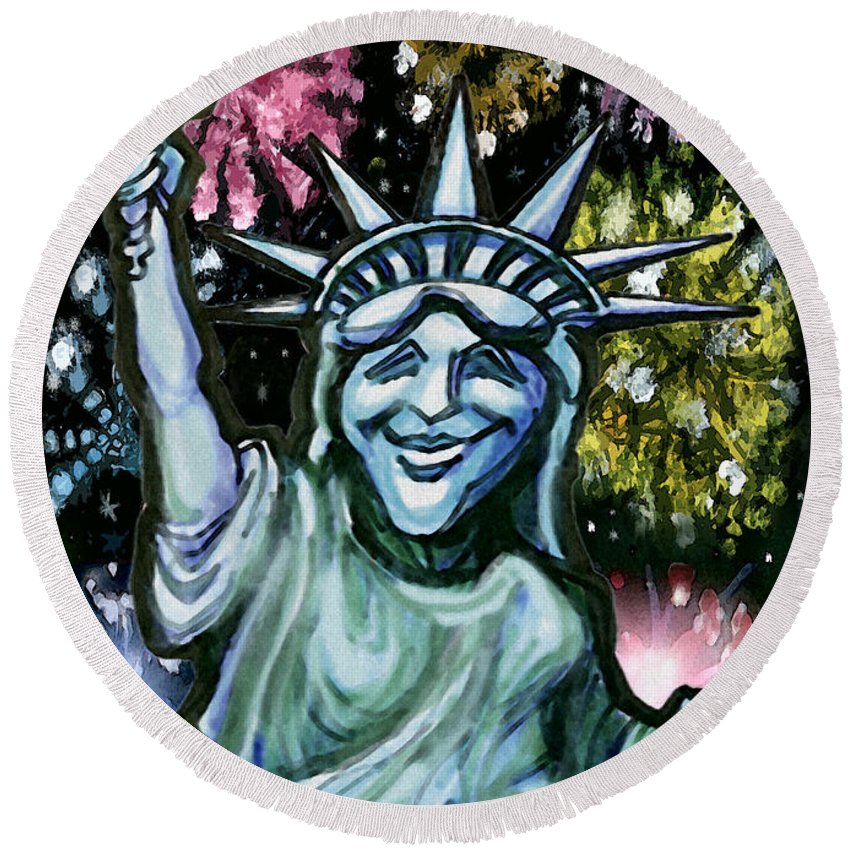 Liberty Round Beach Towel featuring the painting Lady Liberty by Kevin Middleton