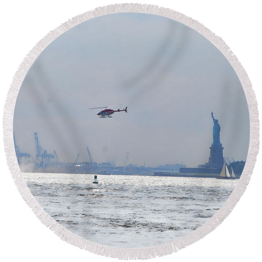 Wright Fine Art Round Beach Towel featuring the photograph Lady Liberty's Typical Day by Paulette B Wright