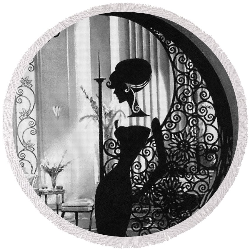 Lady Round Beach Towel featuring the painting Lady by Mo T