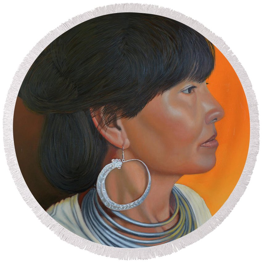 Hmong Woman Round Beach Towel featuring the painting Lady Of Sapa by Thu Nguyen