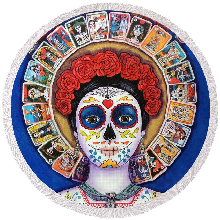 Dia De Los Muertos Round Beach Towel featuring the painting Lady Of The Loteria by Candy Mayer