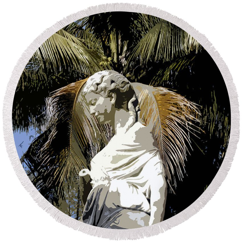 Statue Round Beach Towel featuring the painting Lady Of The Palms by David Lee Thompson