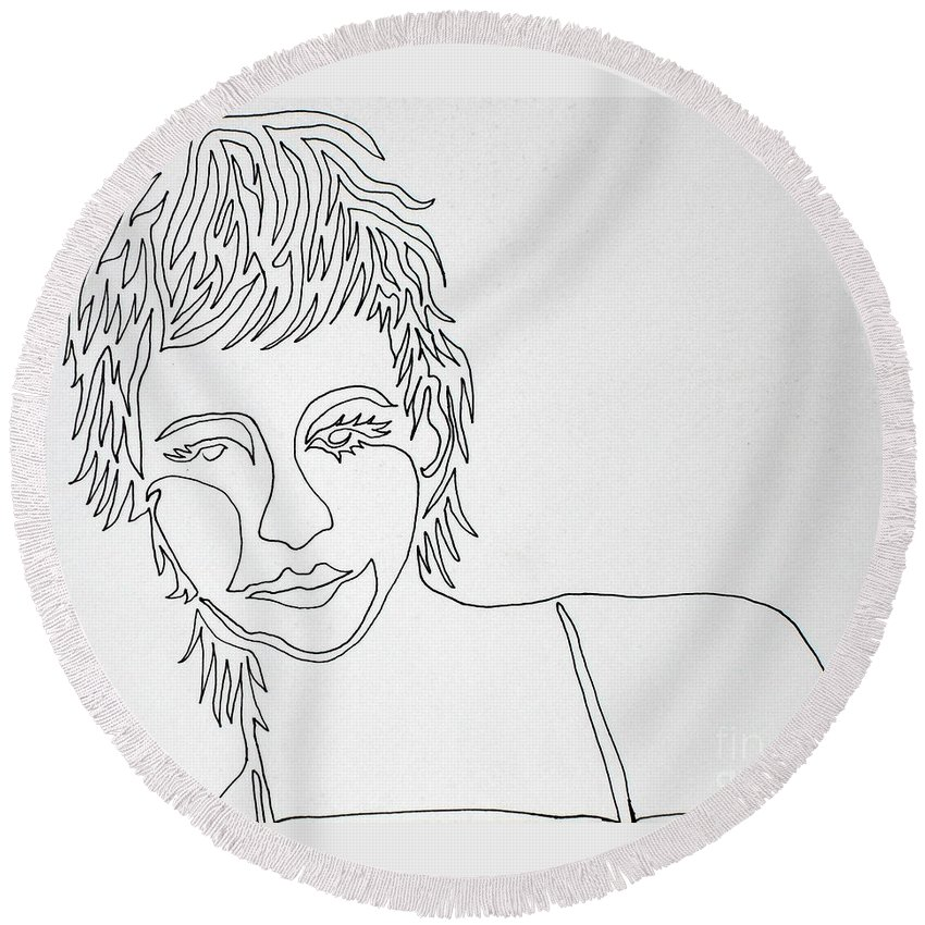 Lady Round Beach Towel featuring the painting Lady On A Line by Vicki Housel