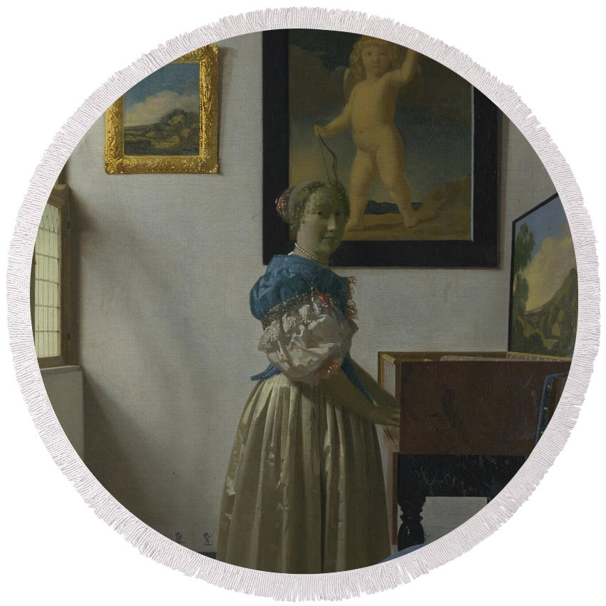 Jan Vermeer Round Beach Towel featuring the painting Lady Standing At A Virginal by Jan Vermeer