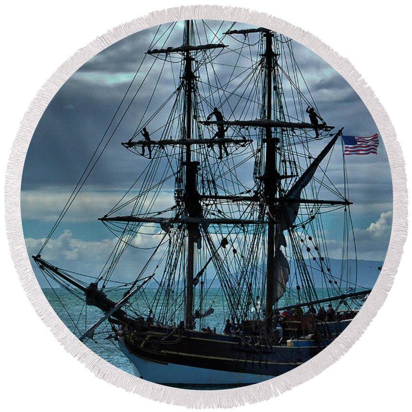 Tall Ship Round Beach Towel featuring the photograph Lady Washington-3 by Michael Gordon