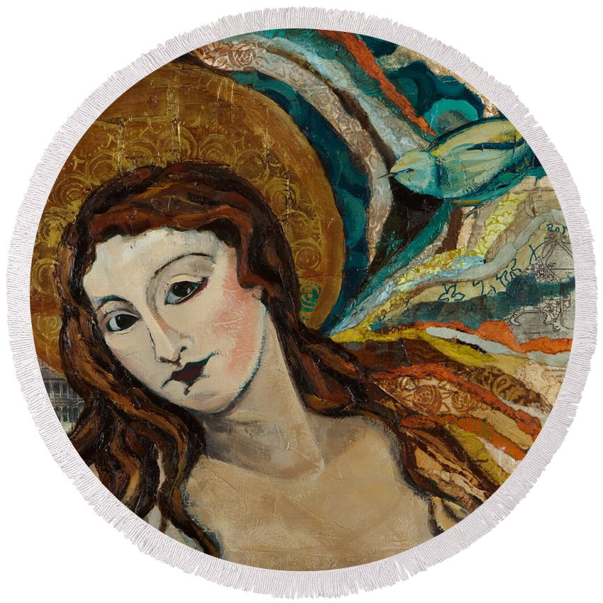 Figure Round Beach Towel featuring the mixed media Lady With Bird by Michele Norris