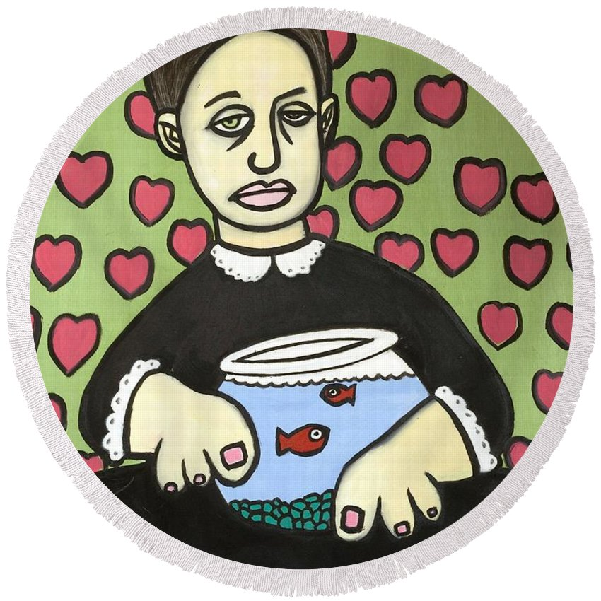 Round Beach Towel featuring the painting Lady With Fish Bowl by Thomas Valentine