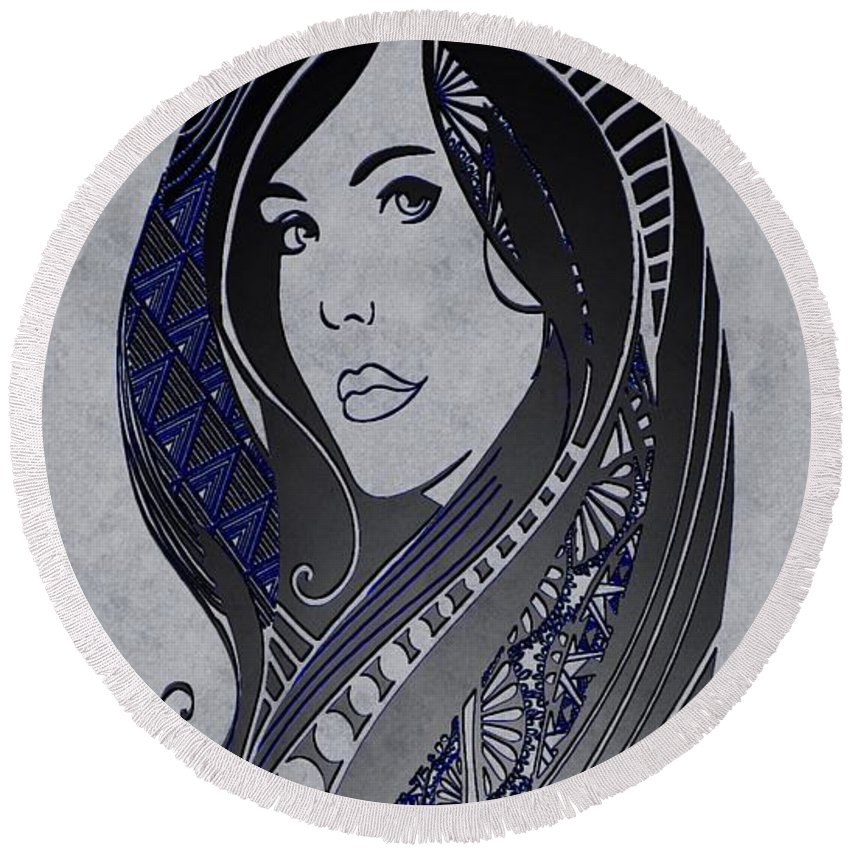 lady Zen Round Beach Towel featuring the painting Lady Zen by Mark Taylor