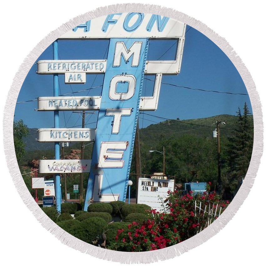 Vintage Motel Signs Round Beach Towel featuring the photograph Lafon Motel by Anita Burgermeister