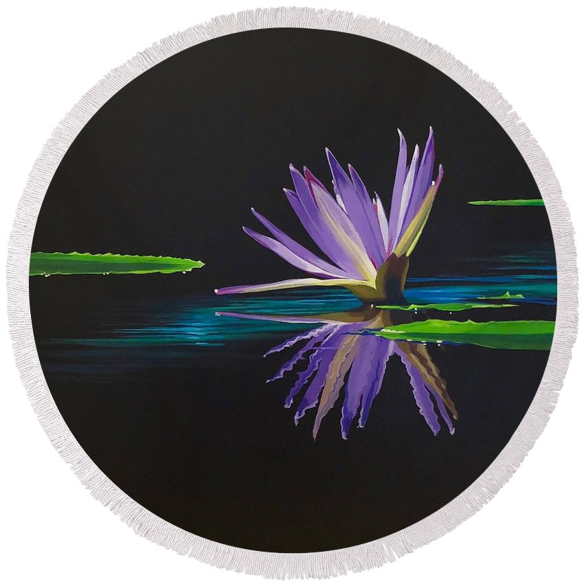 Waterlily Round Beach Towel featuring the painting Lagan Love by Hunter Jay